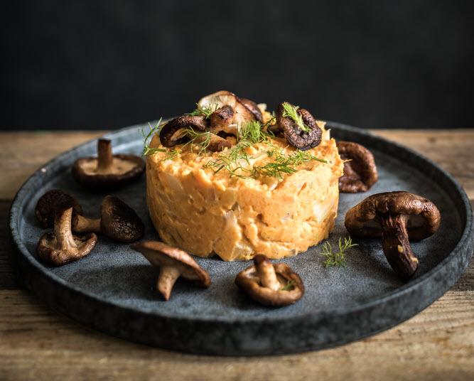 Venkel stamppot met zoete aardappel en shiitake